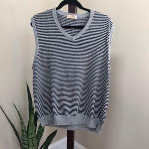 J Crew men's cashmere sweater vest stripe grey XL
